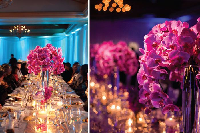 Fuschia and White head table and backdrop designed by www ...