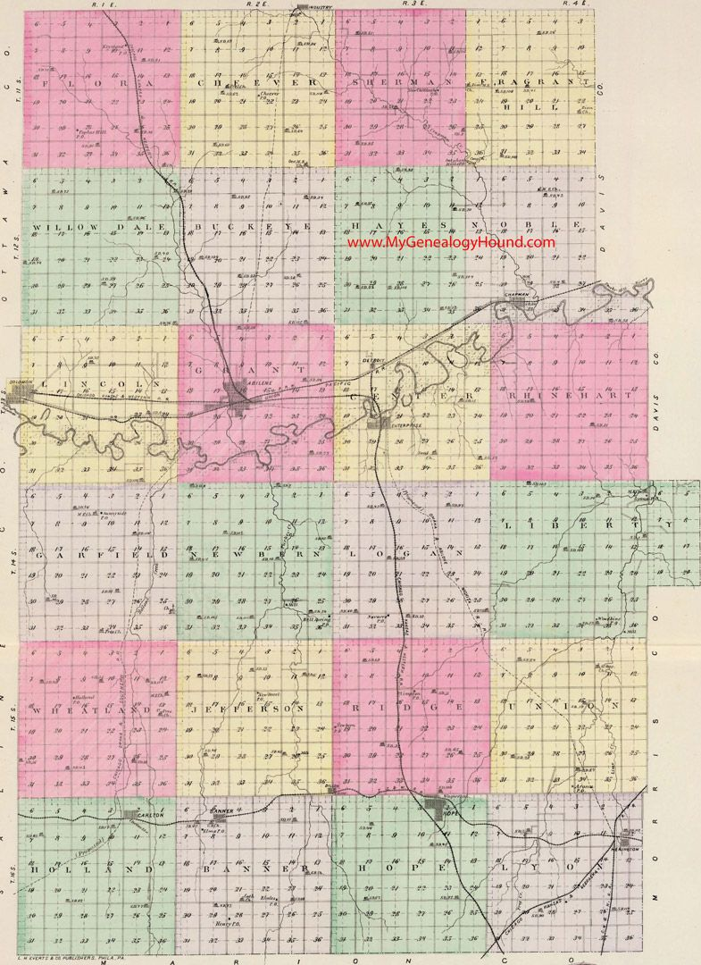 Kansas dickinson county solomon - Dickinson County Kansas 1887 Map Abilene Solomon Enterprise Chapman Hope