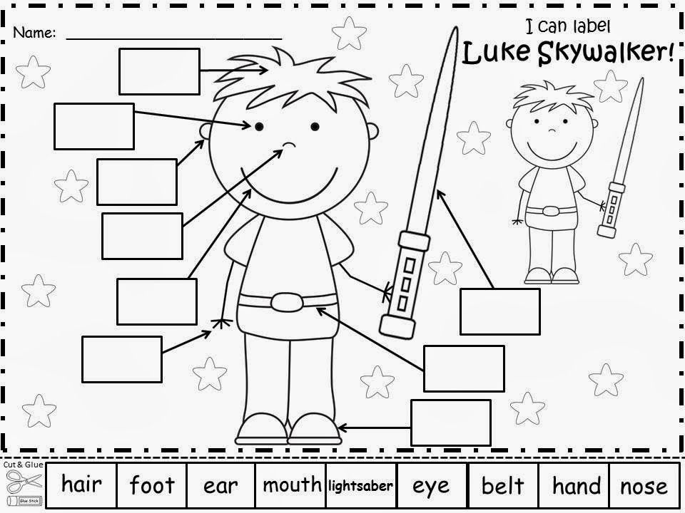 Free Luke Skywalker Labels. Have your students label Luke