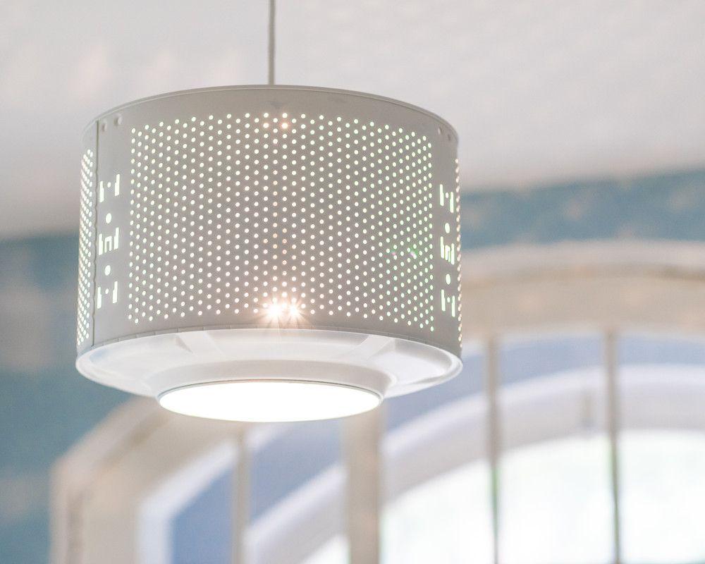 Gewaltig Ausgefallene Deckenlampen Dekoration Von - ! Waschtrommel Lampe WÄsche Upcycling Weiß