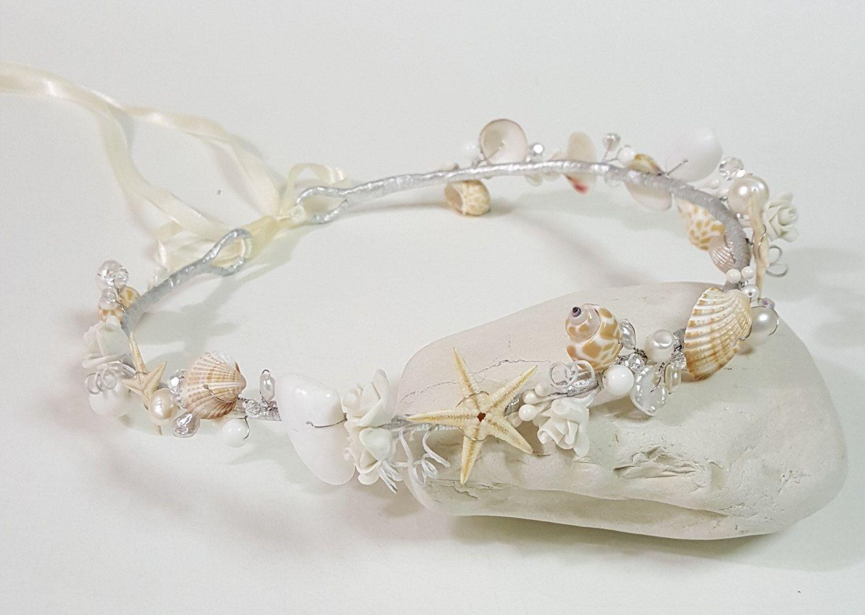 Beach Bridal Tiara Wedding Seashell Headpiece Seashell Crown