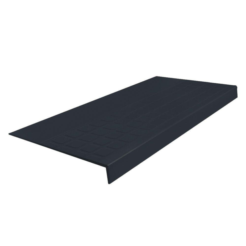 Roppe Heavy Duty Raised Design Square Profile Black 12 5 16 In X 48 In Rubber Square Nose Stair Tread Stair Treads Stairs Commercial Flooring