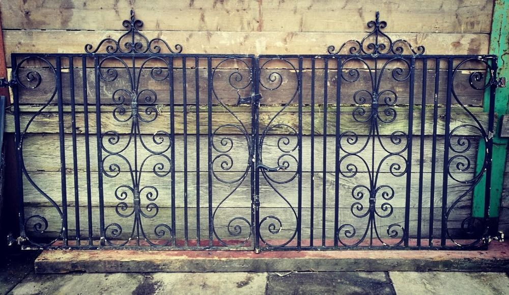 Ornate Black Wrought Iron Gates Scroll Detail Beautiful Reclaimed