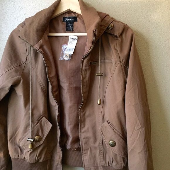 ❤️ FINAL REDUCTION ❤️ Military Style Zip Jacket Taupe/light brown military style zip jacket with hood and faux pockets. Brand new with tag. Never worn. Jackets & Coats Utility Jackets