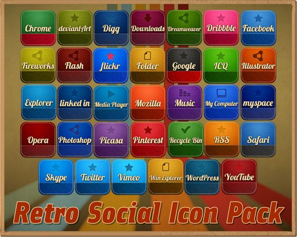 Retro Social Icons Pack - free icons, desktop icons, mac icons