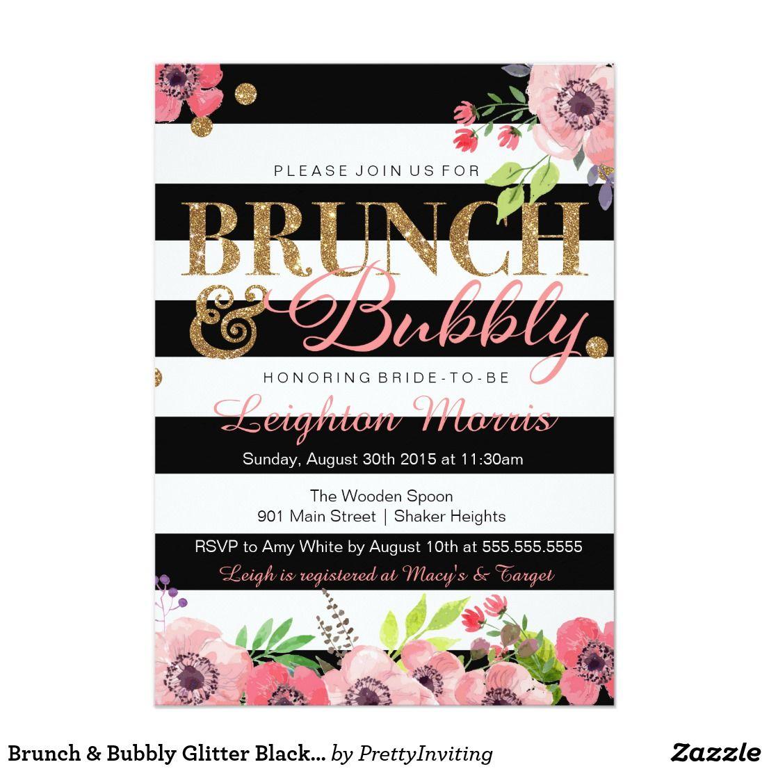 Brunch Bubbly Glitter Black White Bridal Shower Card White