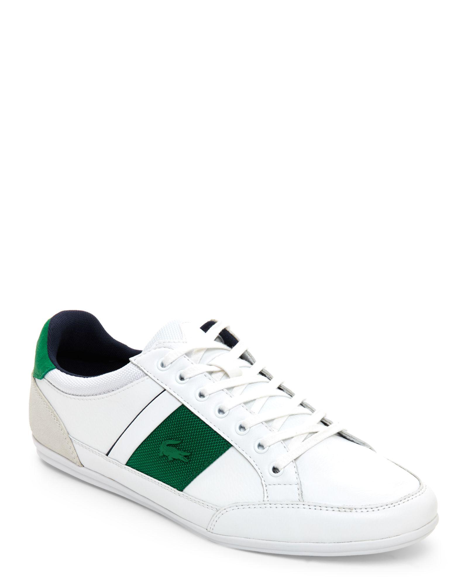5fa763dd4a2e White   Green Chaymon Leather Low Top Sneakers in 2019