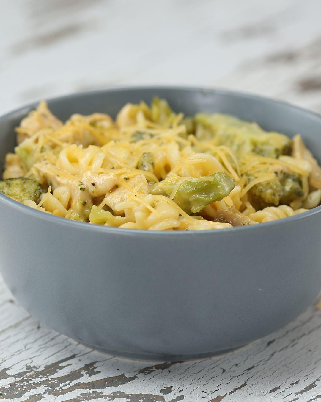 One Pot Broccoli Cheddar Chicken Pasta