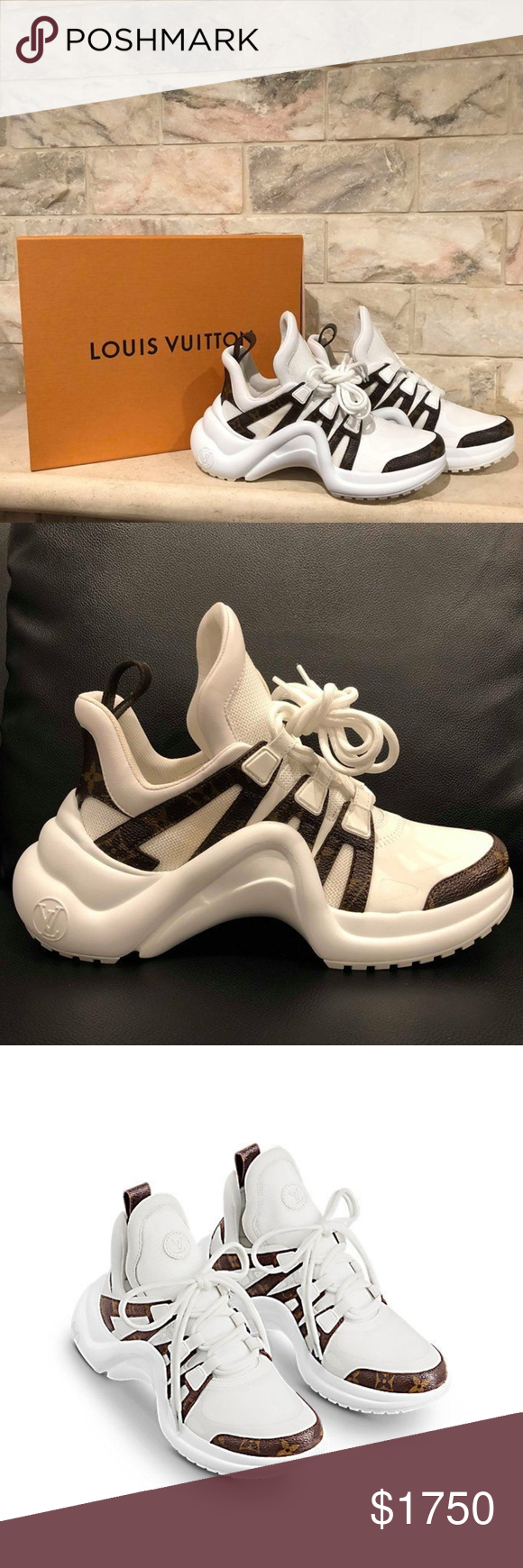 a8b6eb327d45 Training Shoes · Louis Vuitton LV Archlight White Monogram Lace Louis  Vuitton LV Archlight White Monogram Lace Logo Flat
