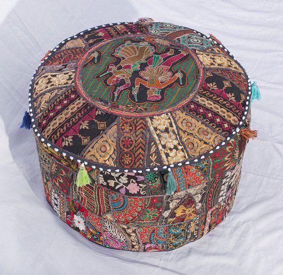 Bohemian Patch work pouf ottoman vintage indian pouf floor stool ...