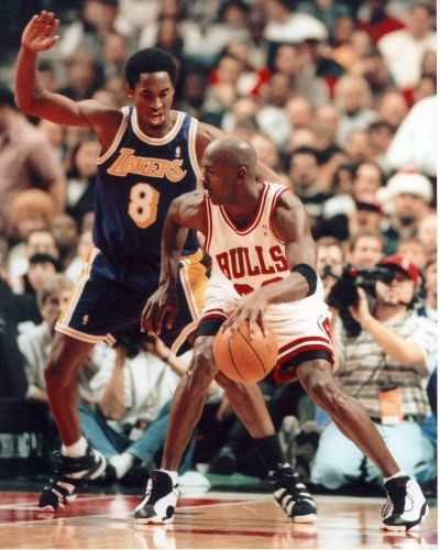 e8cc2f5cc5eb Kobe Bryant Guarding Michael Jordan Photo Lakers Bulls Photos 8x10  6.95