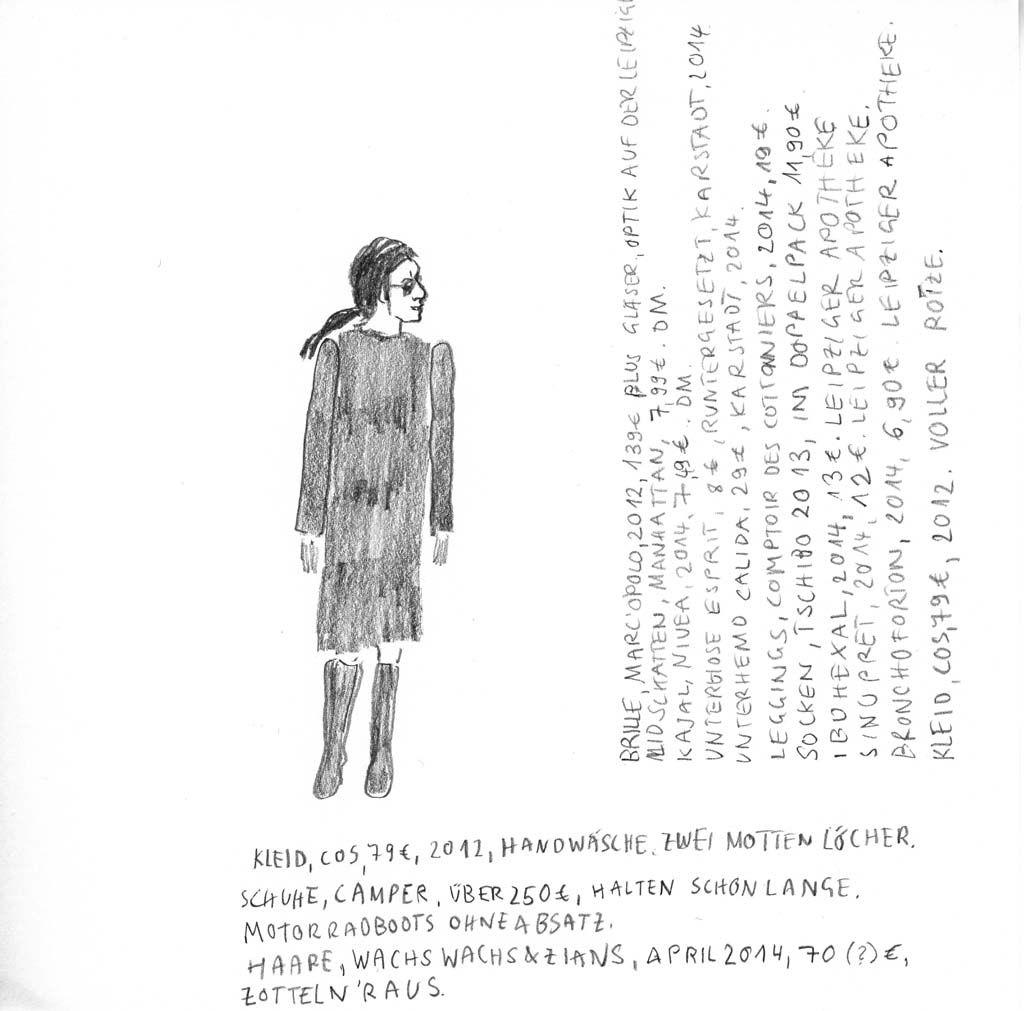 kleid, cos, 79€, 2012, handwäsche. | zeichnung, kleider, wäsche