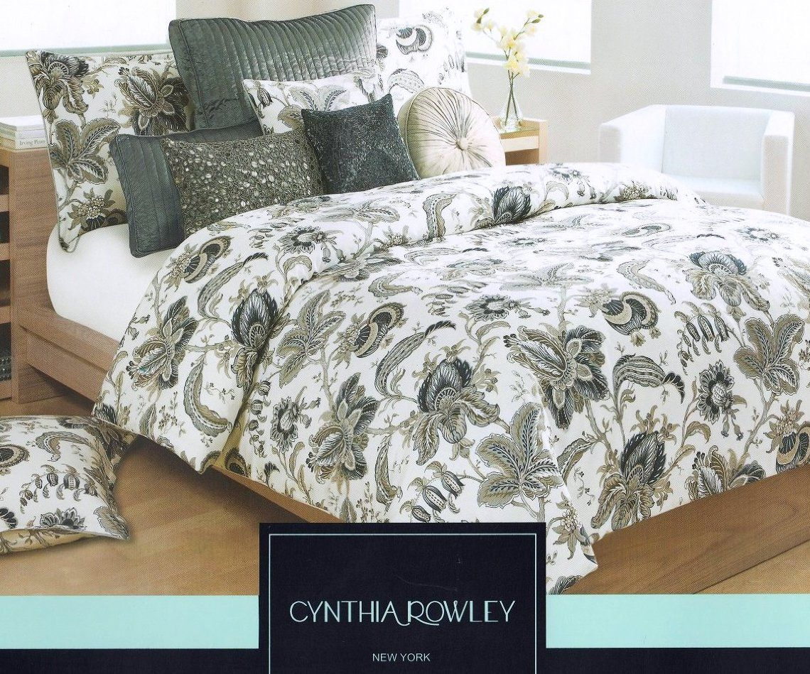 Cynthia Rowley 3pc Queen Duvet Cover Set Beautiful Jacobean Floral White Navy Blue Beige King Duvet Cover Sets Duvet Cover Sets Queen Duvet Covers