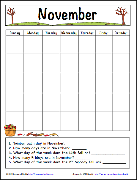 November Learning Calendar Template For Kids Free Printable