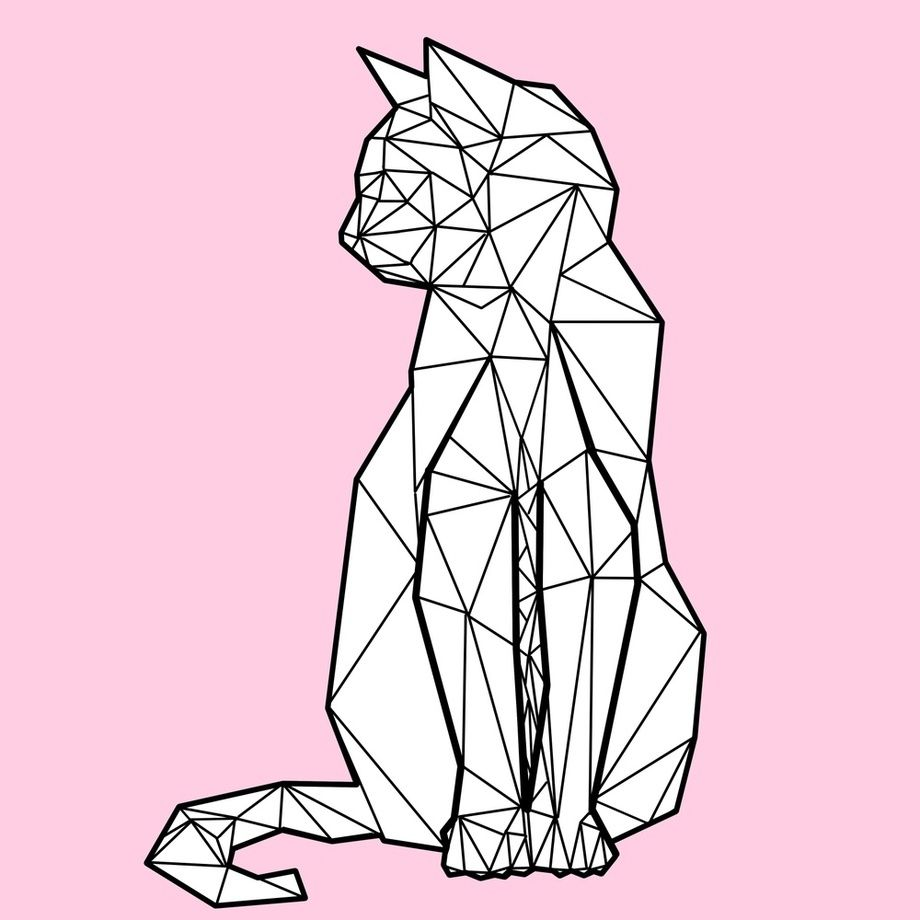 digital illustration of low poly black and white cat beautiful