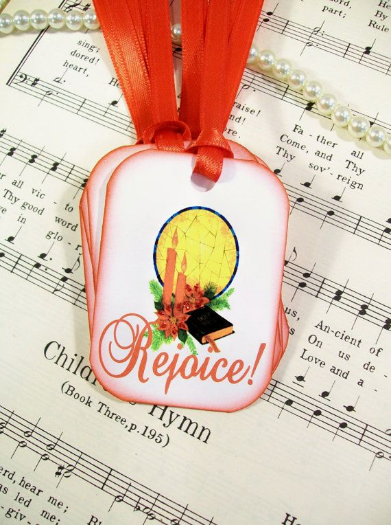 Tags Rejoice Christmas Tags Christian Set of 6 by PrayerNotes, $5.00