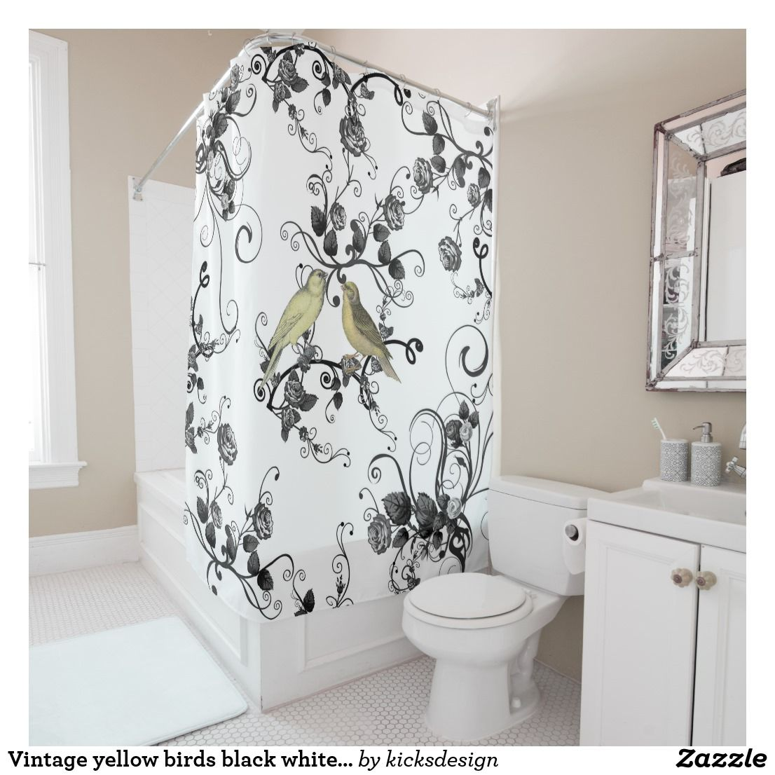 Vintage Yellow Birds Black White Roses Flowers Shower Curtain