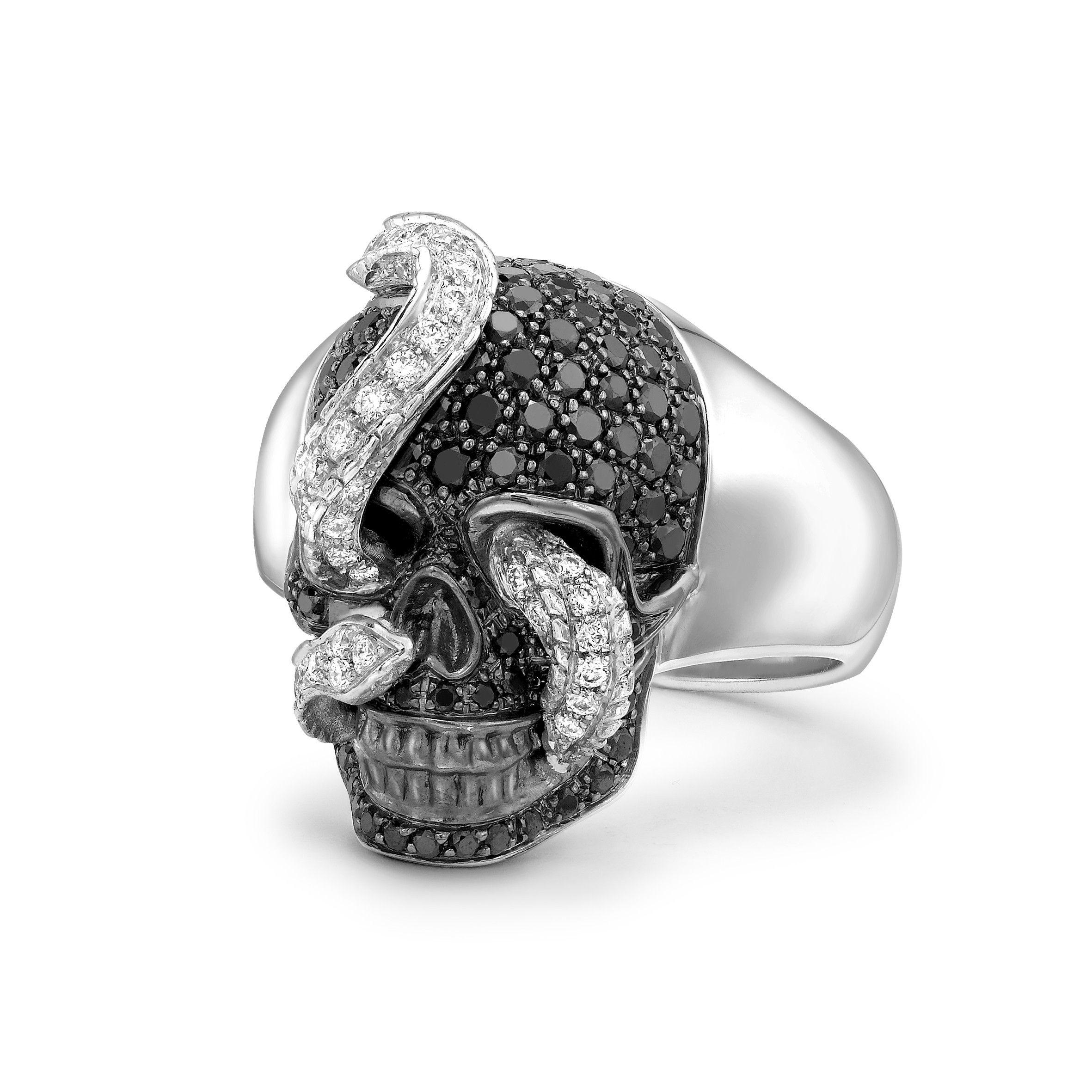 BLACK DIAMOND & DIAMOND MEDIUM SKULL AND SNAKE RING