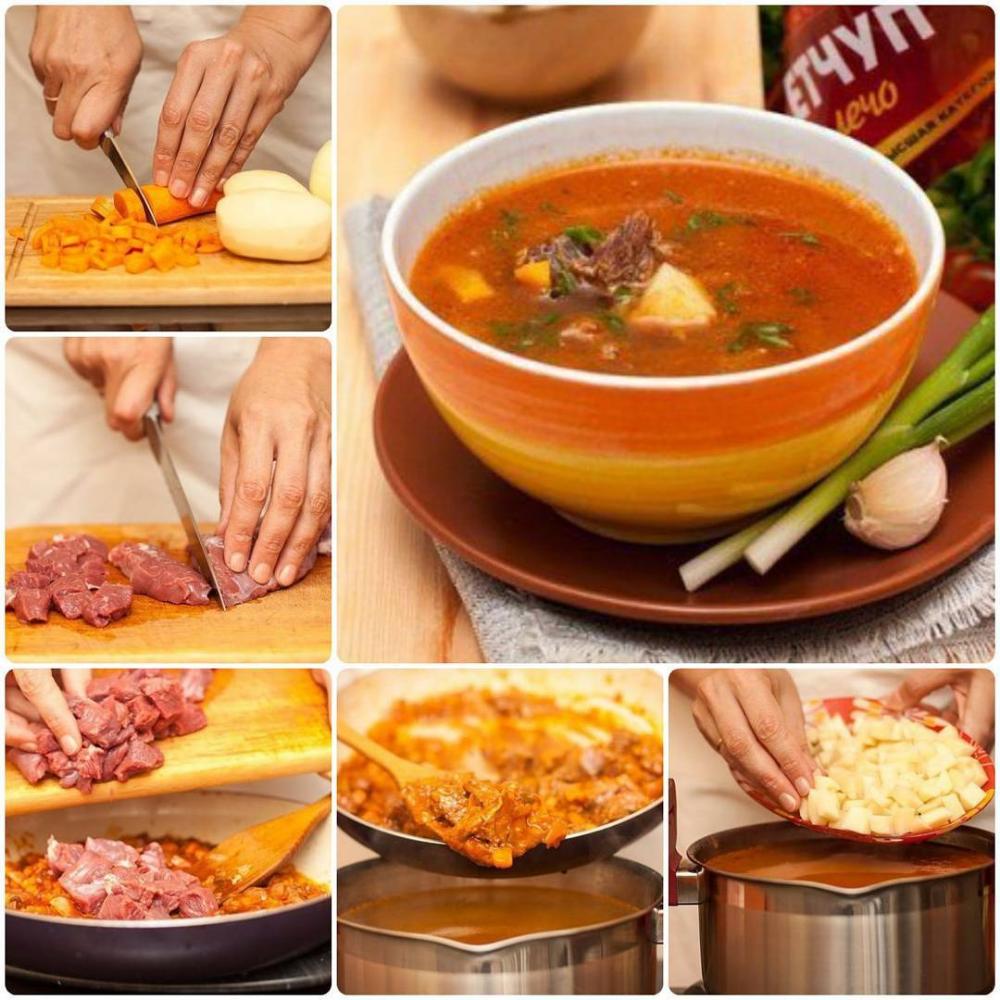 Венгерский суп-гуляш с говядиной Ингредиенты: 300 г ...
