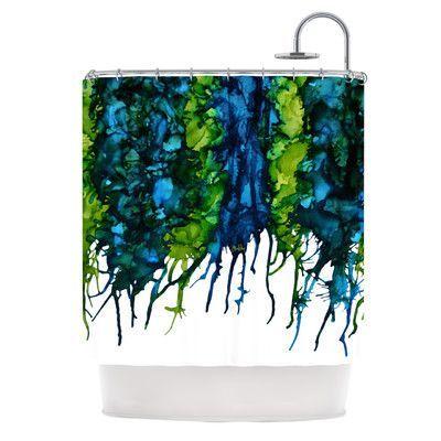 KESS InHouse Drop Shower Curtain Color Green