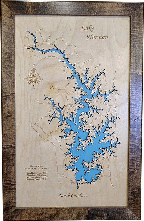 Lake Norman North Carolina Wood Laser Cut Map