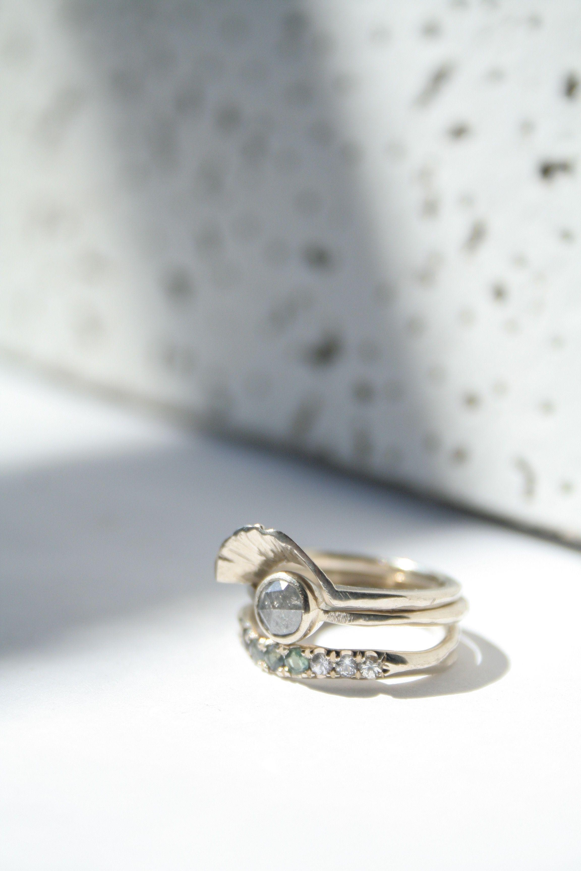 Macha engagement rings sapphirering rosecut diamondring