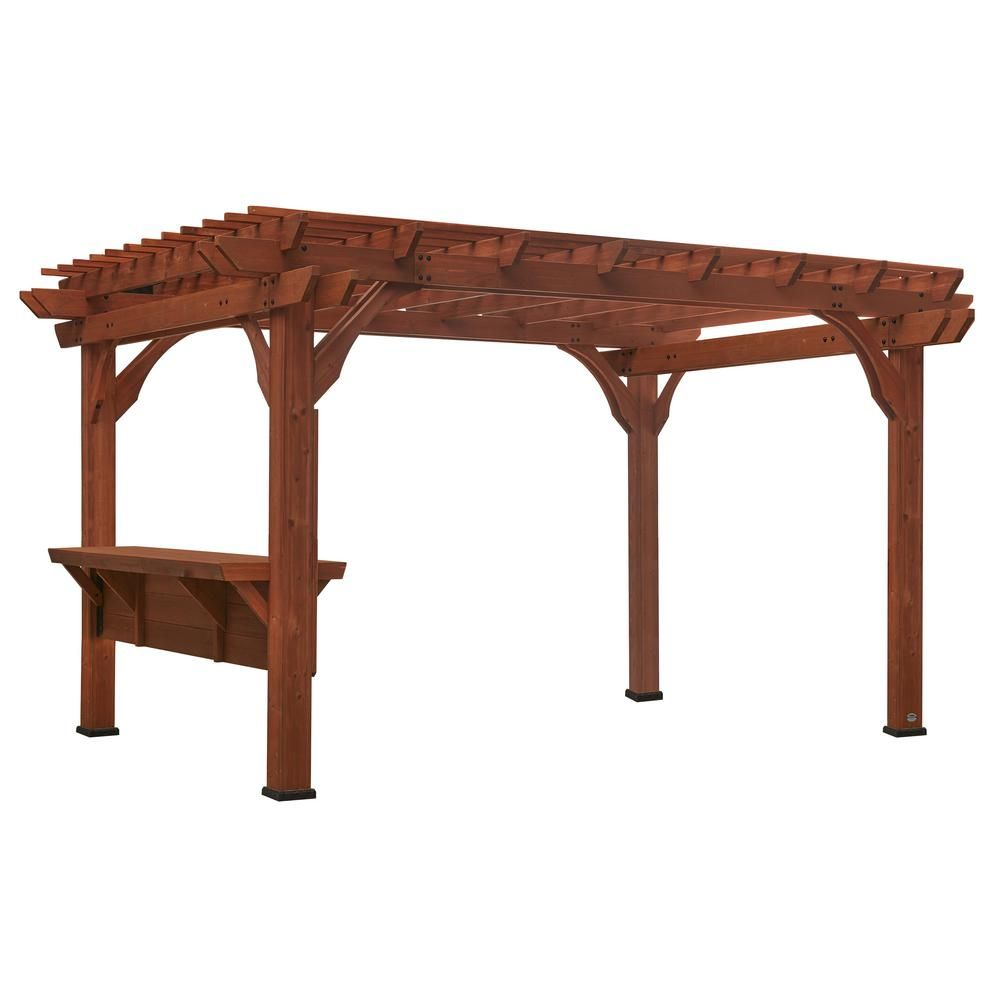 Backyard Discovery Ashland 10 Ft X 14 Ft Cedar Pergola With Bar And Electric 2006515com In 2020 Cedar Pergola Pergola Wooden Pergola Kits