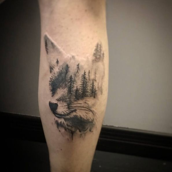 40 Creative Unique Landscape Animal Tattoo Designs Tatouage De Paysage Tatouages Theme Foret Tatouage Cou