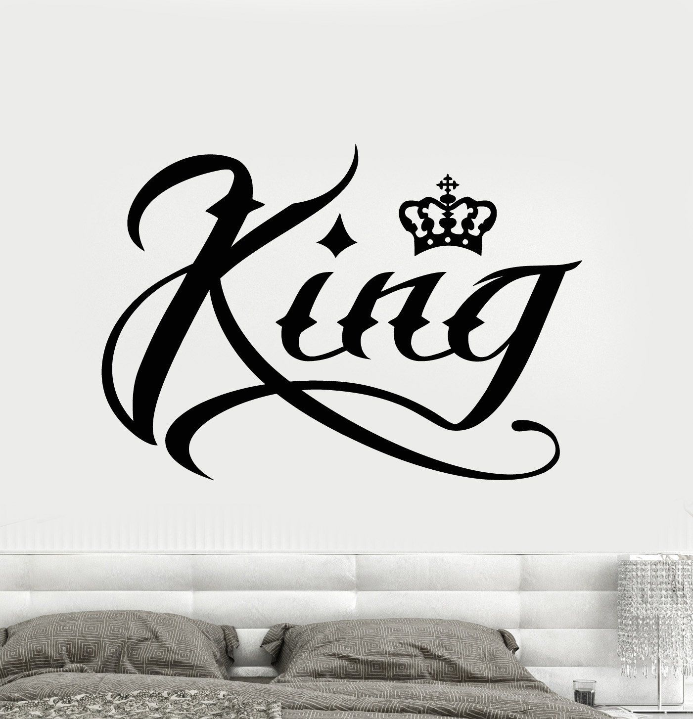 Vinyl wall decal king word inscription crown stickers unique