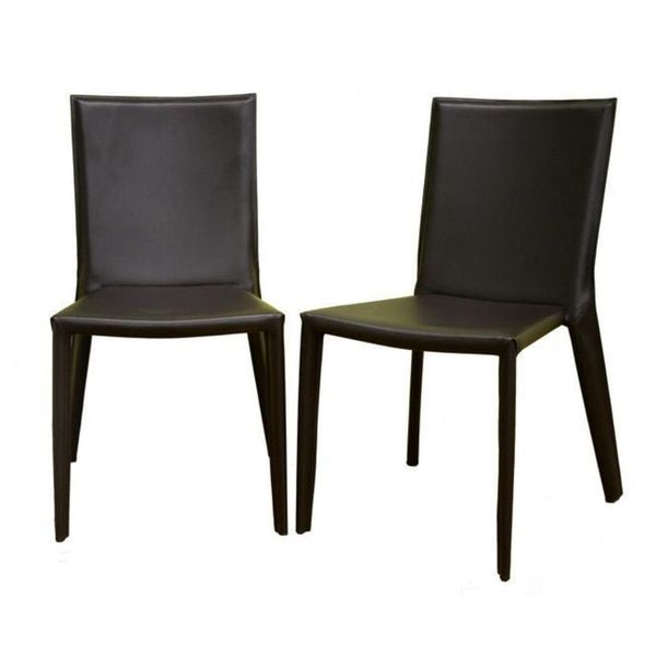Baxton Studio Chocolate Brown Bonded Leather Dining Chairs Set of
