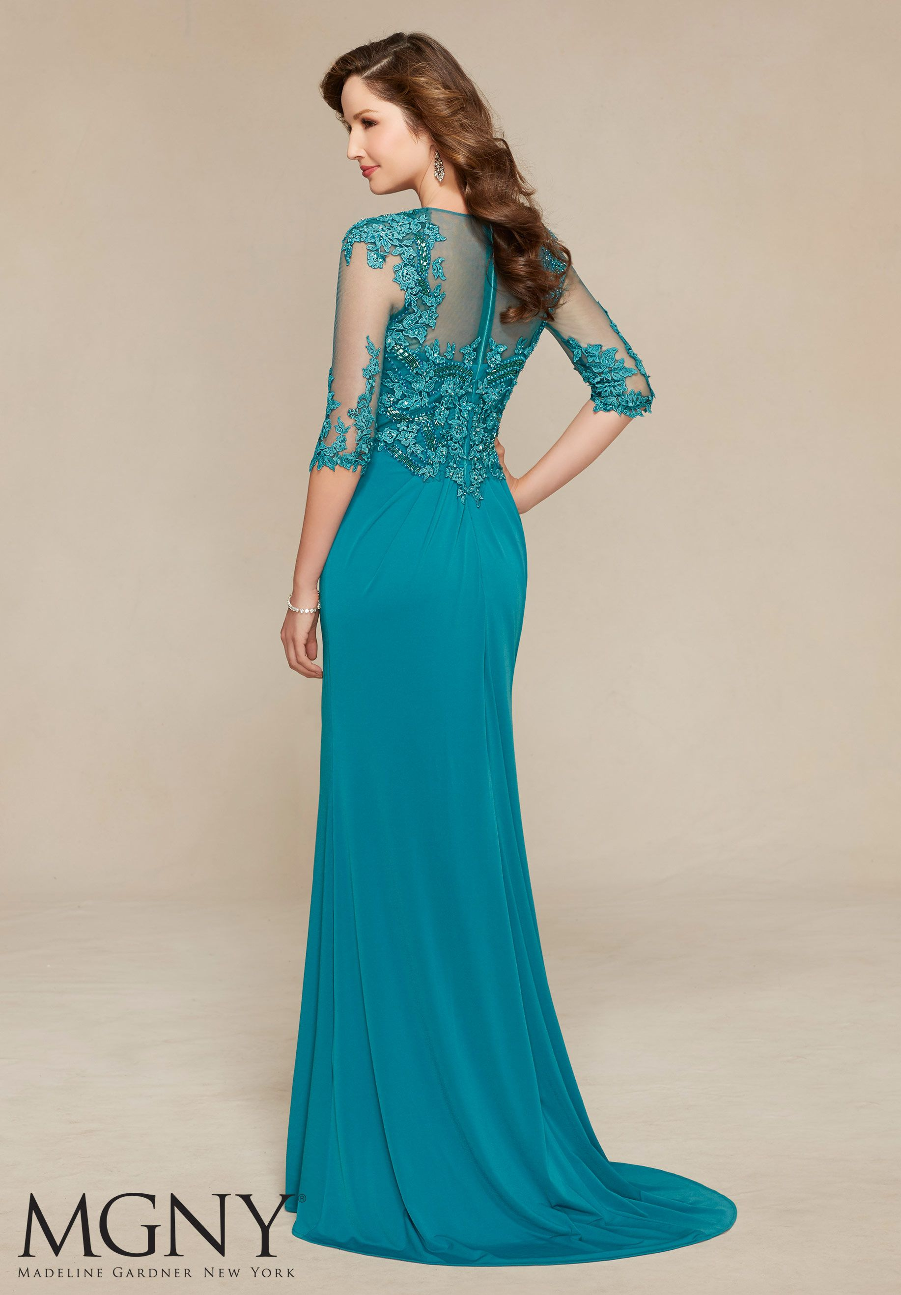 Jersey with Venice Lace Appliqués and Beading Design Evening Gown ...