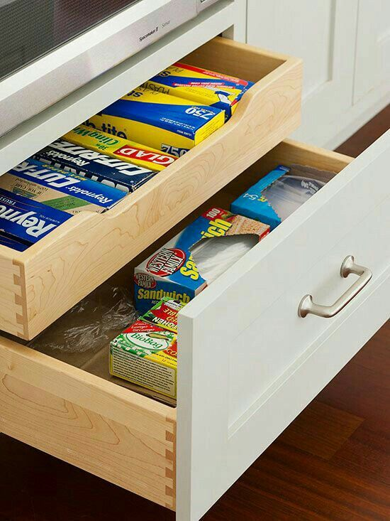 We Love This Kitchen Storage Idea This Is Perfect For Small Spaces And Organization Make The Most Of A Deep Drawer With A Sliding Insert That Divides The