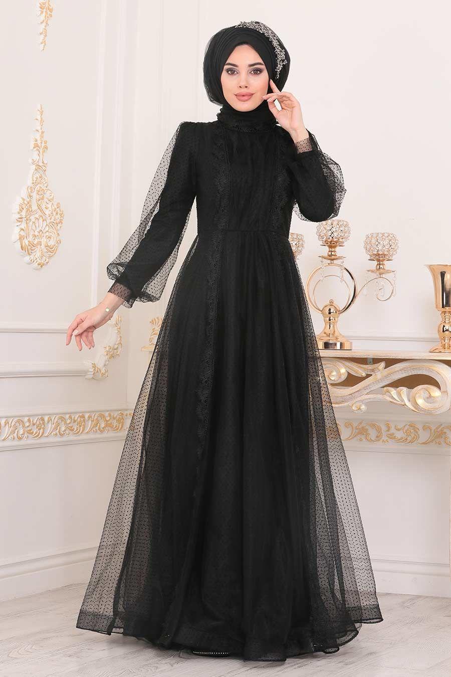 Tesetturlu Abiye Elbise Tullu Siyah Tesettur Abiye Elbise 40371s Tesetturisland Com 2020 Elbise Aksamustu Giysileri The Dress
