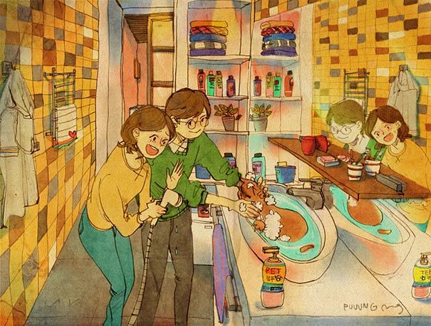 heartwarming illustrations art sweet love couple puuung 21