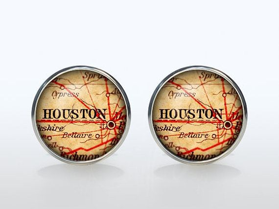 Love it! Houston Map Cufflinks Silver plated Houston Vintage by ElegantCuff. Etsy.