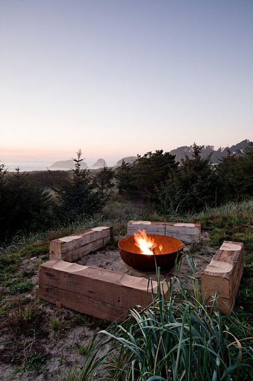 firepit, or rather bowl, within sight of the sea
