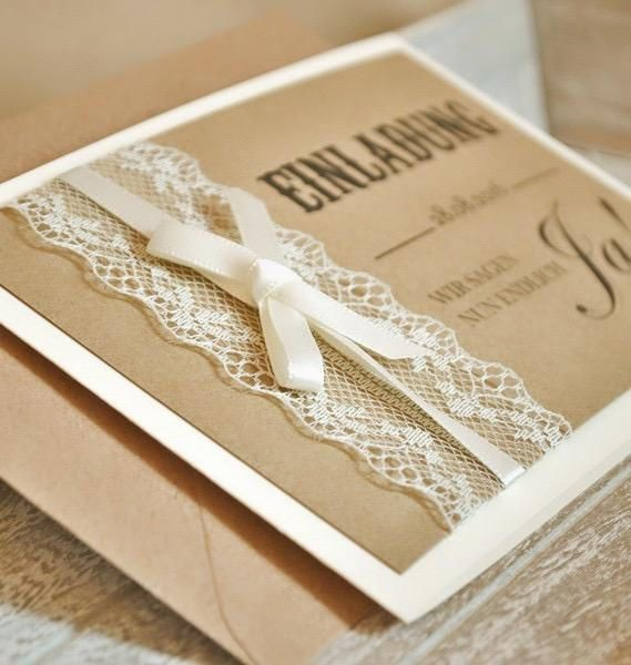 Vintage Einladungen mit Spitze Modell Nr 1 Liebevoll gestaltete