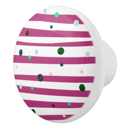 elegant hot pink stripes with glitter polka dots ceramic knob