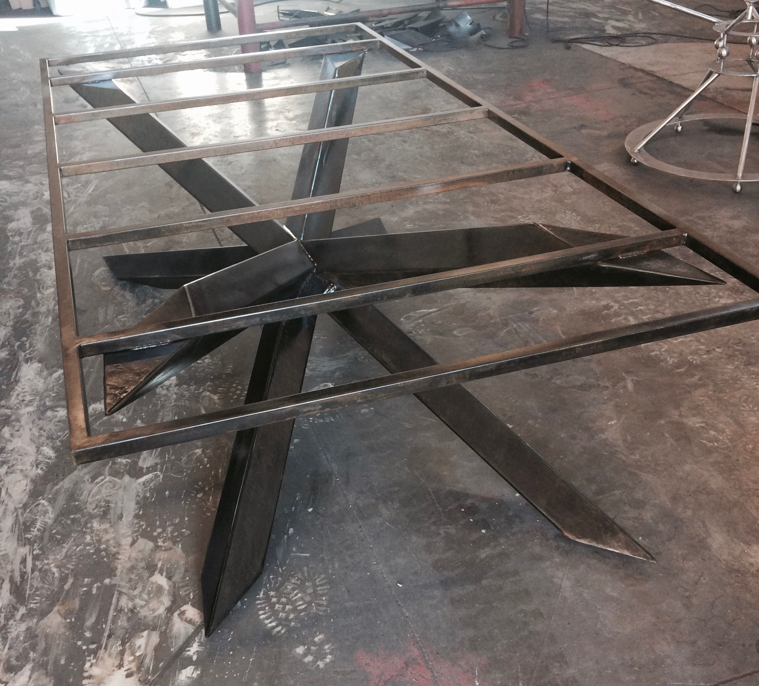 Rectangular steel cross table base is strong and sturdy designed