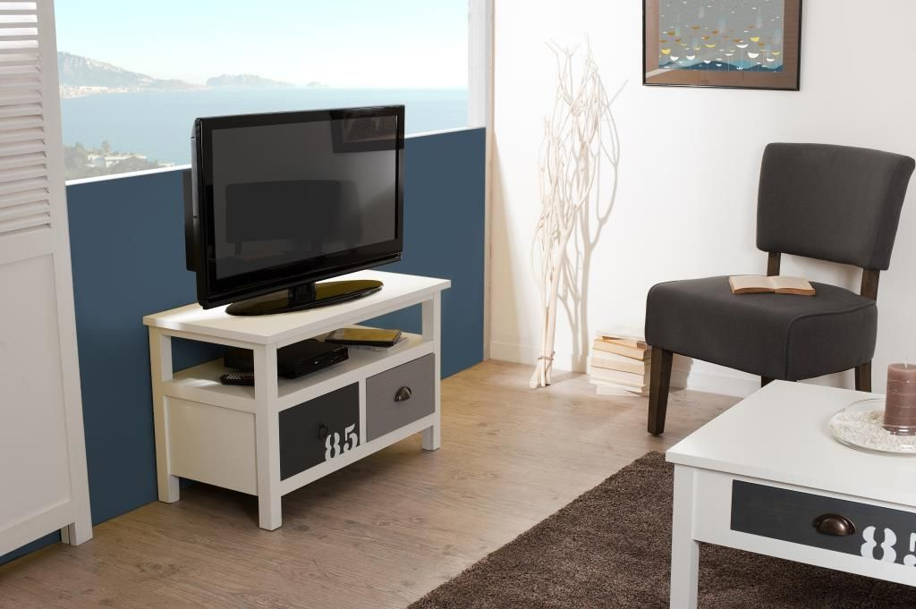 meilleures baskets e2779 5e32f Meuble TV 2 tiroirs Blanc Gris et Taupe bois 80cm MILO ...