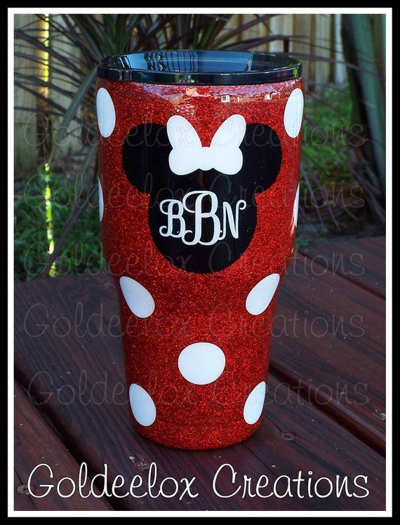 Disney 'Inspired' Glitter Cup-Glitter Ozark Tumbler-Glitter Tumbler-Stainless Glitter-Mouse Silhouette -Polka Dots Tumbler-Minnie Mouse #disneycups