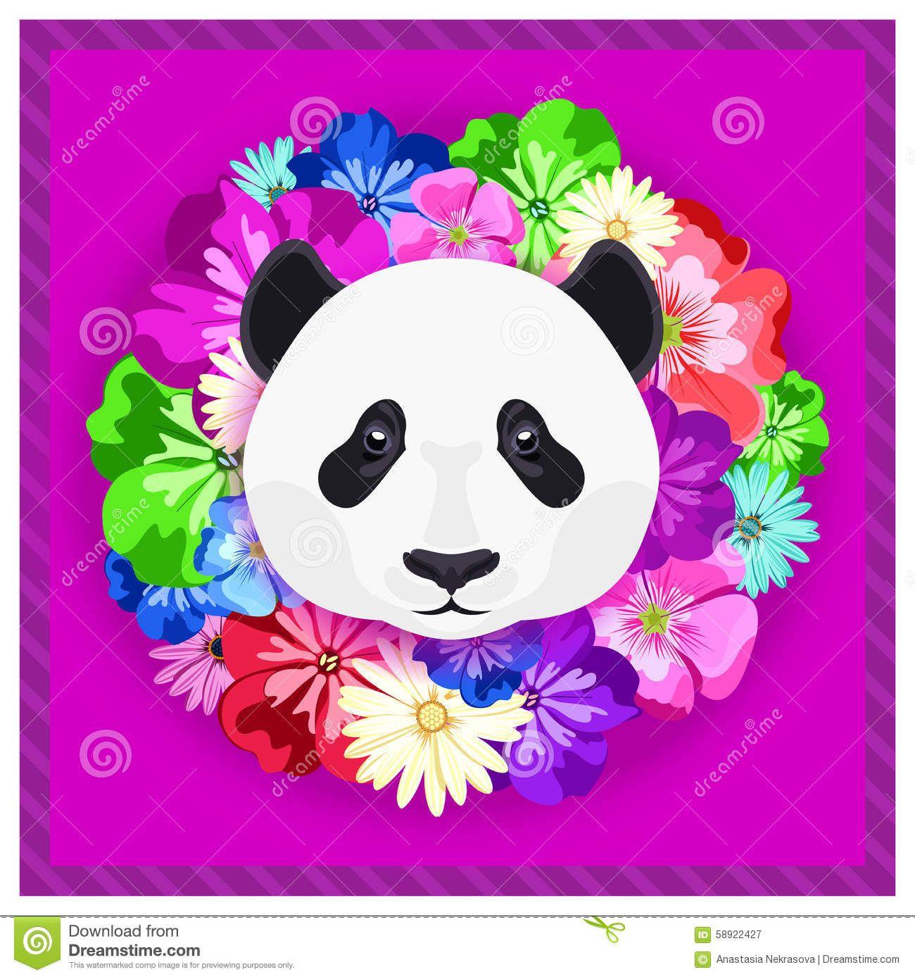 vector-el-retrato-de-una-panda-entre-las-flores-colores-hermosos ...