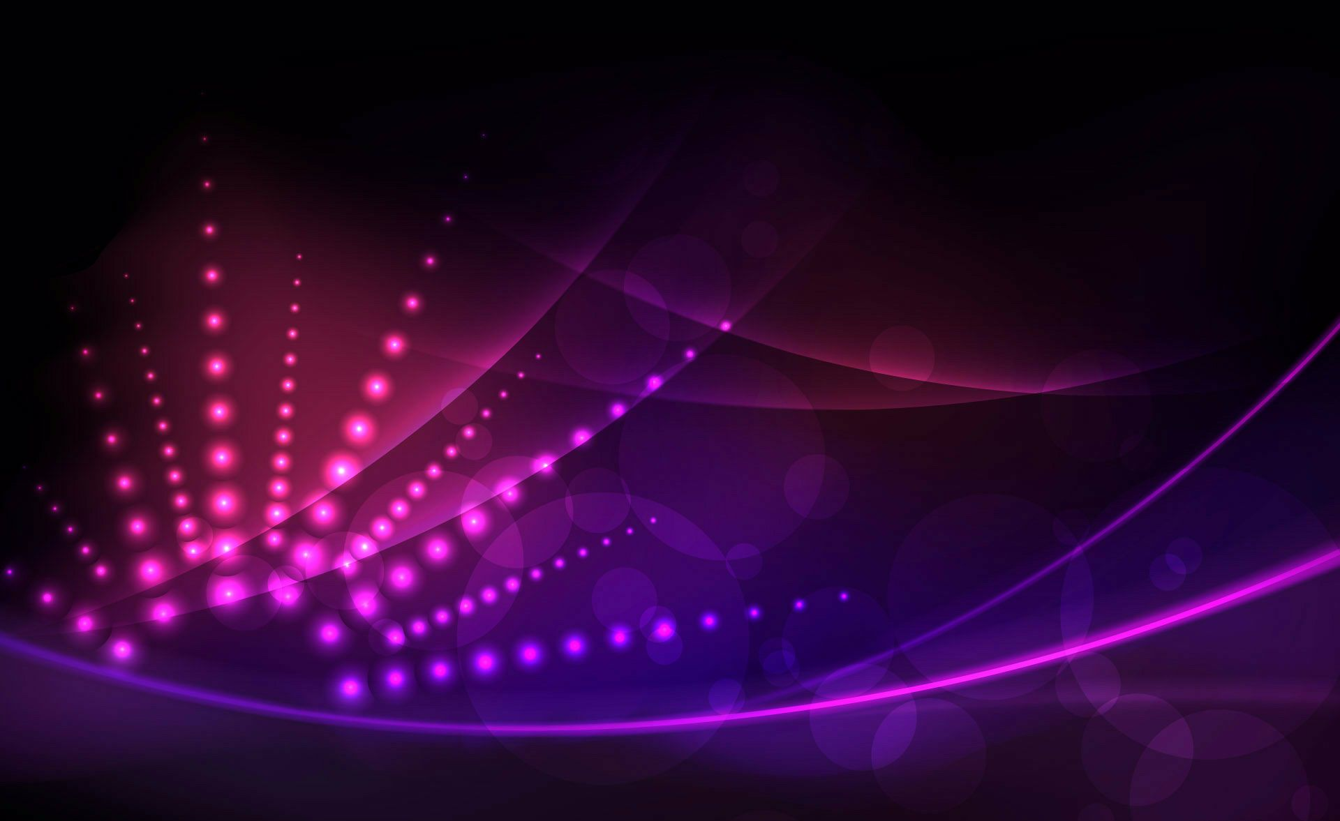 Abstract Beautiful Lines Black Background Circles Lights Pink