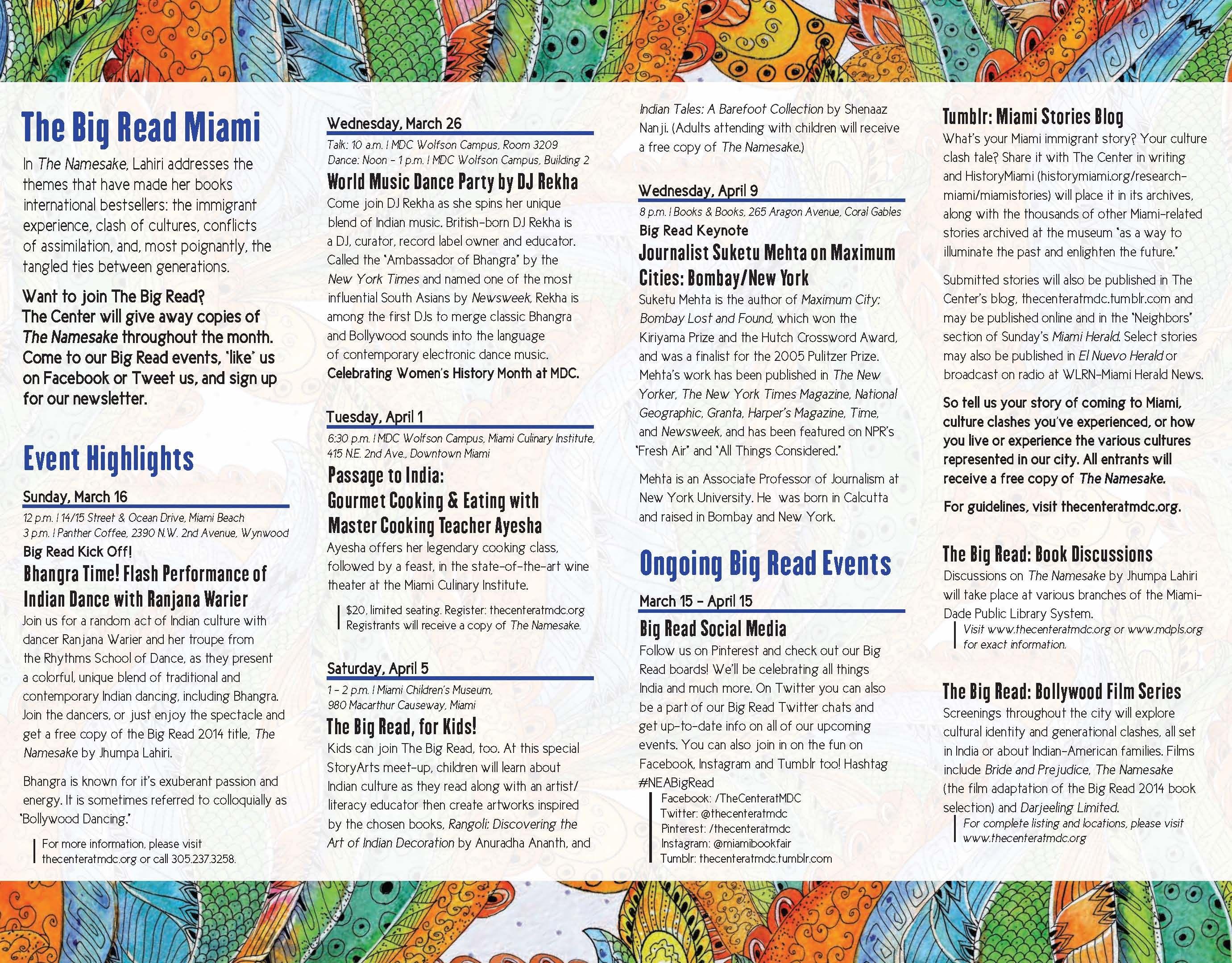 Events Calendar Courtesy Of The Center For Literature And Theatre Miami Dade College The Big Read World Music Miami Dade College