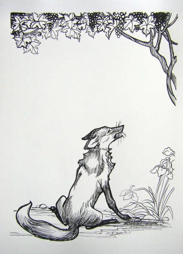 картинка для басни лиса и виноград для