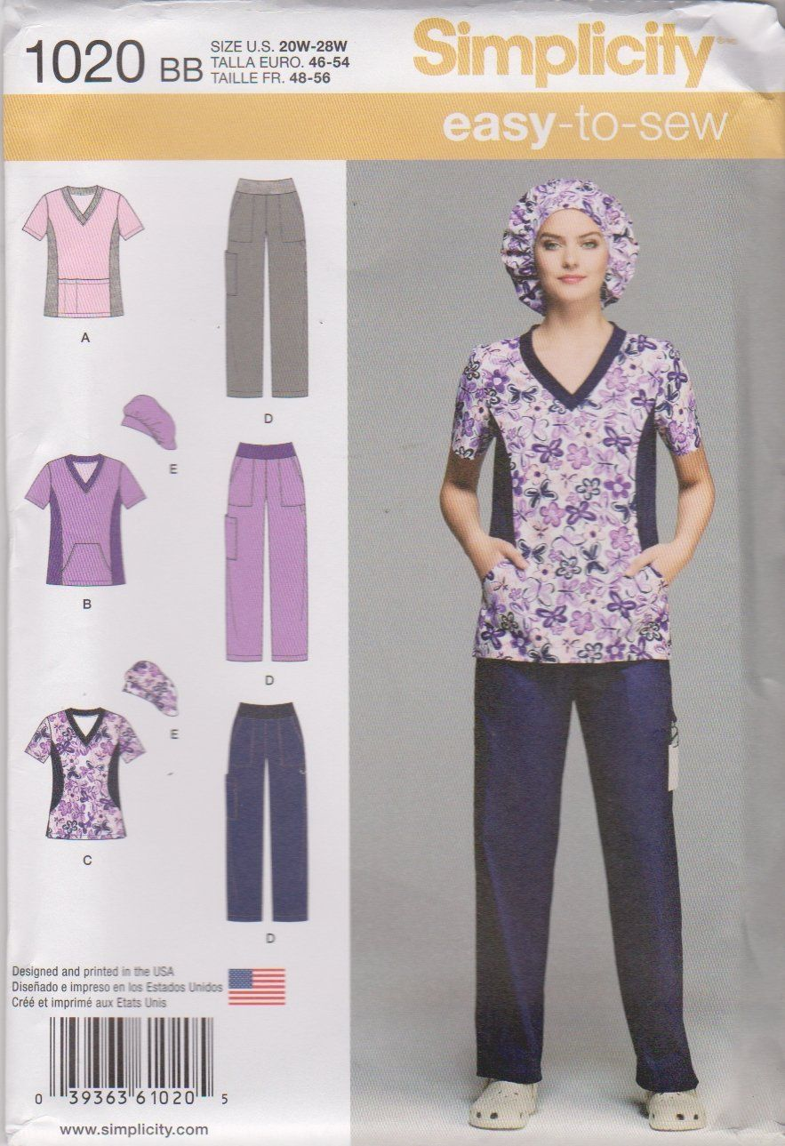 7c8a84783 Simplicity Sewing Pattern 1020 Women s Plus Sizes 20W-28W Easy Scrub ...