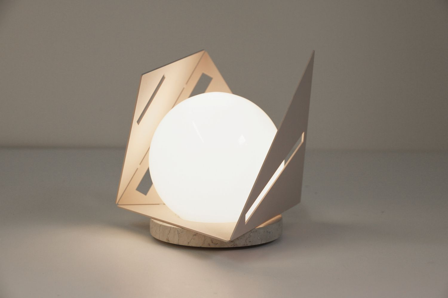 Pira Table by d Armes Luminaires Powder coat glass marble