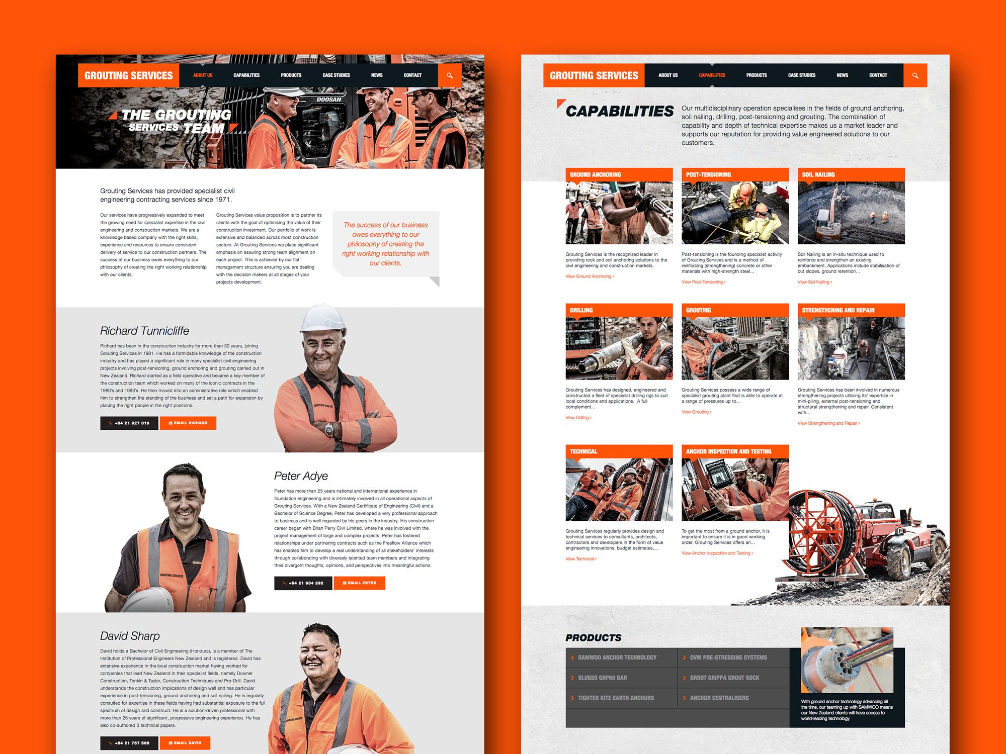 Onfire Design Grouting Services Branding Identity Website Design 3 Website Design Brand Identity Digital Design