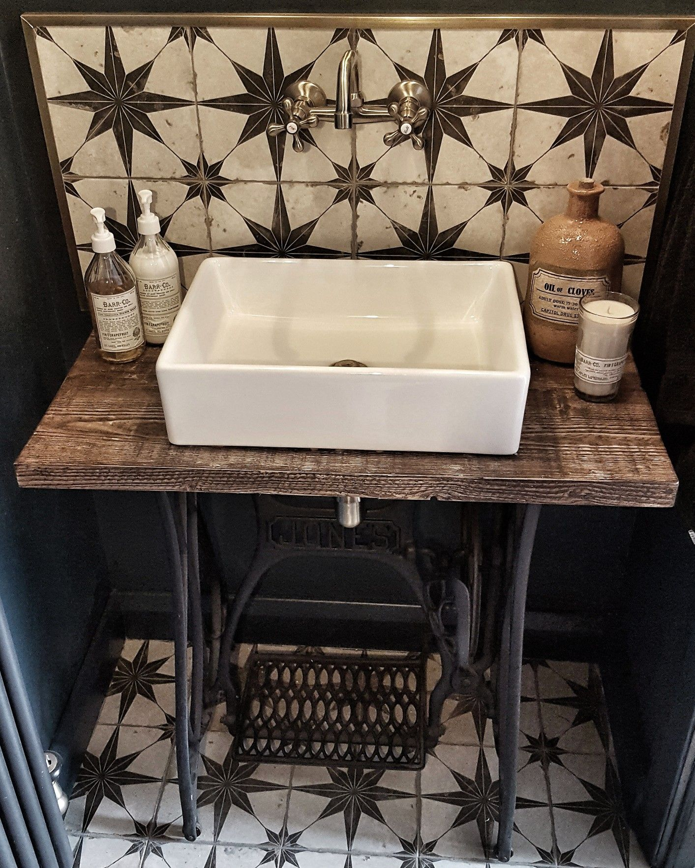 Sewing machine table in bathroom, star tile backsplash, sink basin on unit, quirky bathroom, Farrow and Ball Hague Blue, downstairs toilet, funky toilet, square sink. See more at insta acct: dreambound1974 #downstairsloo