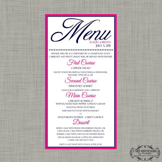 Elegant Wedding Menu Card in ANY color scheme by CAMRYNJOLEE ...